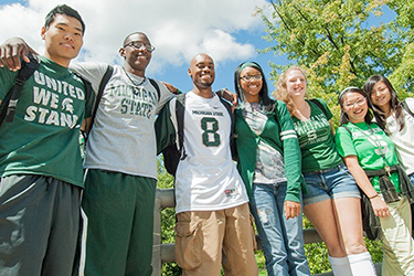 MSU students pose on campus